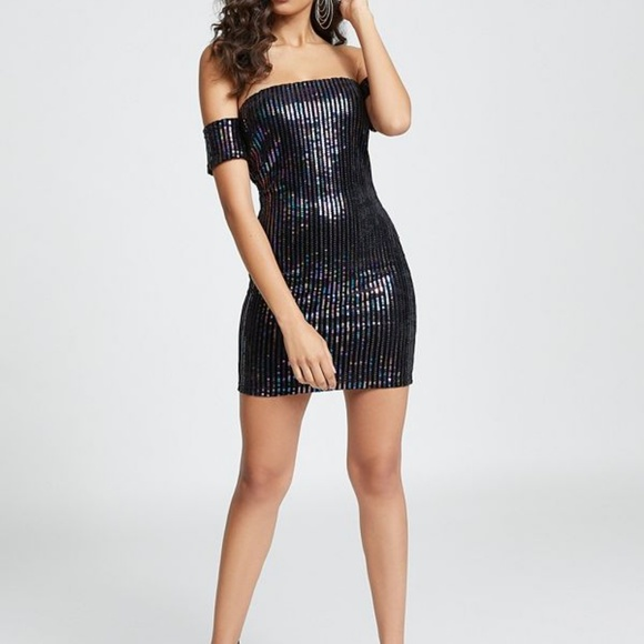 Guess Dresses & Skirts - GUESS: Athena Off-The-Shoulder Sequin Dress_Small